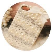 Чехол со стразами и жемчугом для iPhone 4/4S