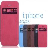 "Чехол с ""окошком"" для Apple iPhone 4/4s из кожи PU"